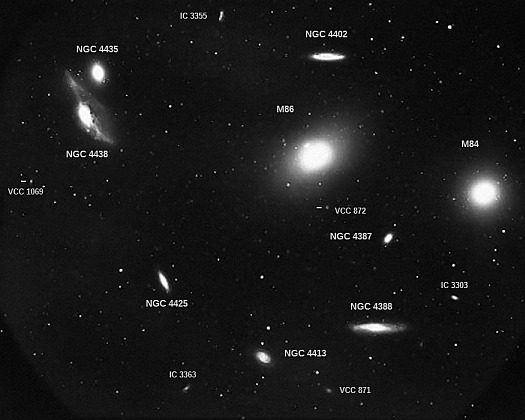 Kitt Peak 4-meter photo of M84/M86 region